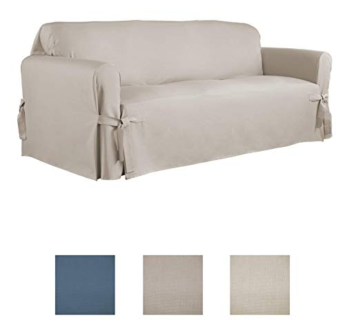 Serta | Relaxed Fit Durable Woven Linen Canvas Furniture Slipcover (Sofa, Khaki)