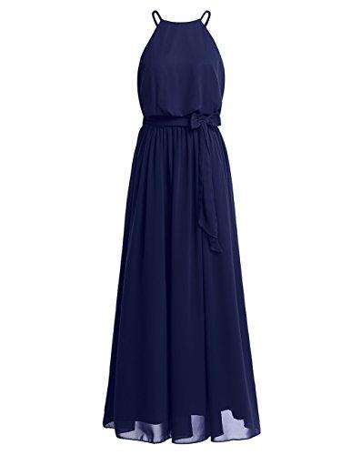 iiniim Women's Halter Chiffon Wedding Maxi Dress Evening Party Bridesmaid Long Dresses Navy Blue US Size 14