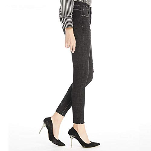 MVGUIHZPO Jeans Femme Hohe Jeans, Winterjeans, Warme Passform, elastische Taille, L?cher. XL