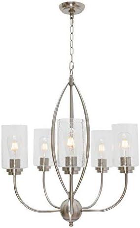 TODOLUZ 5-Lights Glass Pendant Light Farmhouse Chandelier Hanging Lighting Fixture