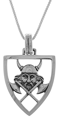 Jewelry Trends Viking Warrior Battle Axe Shield Sterling Silver Pendant Necklace 18