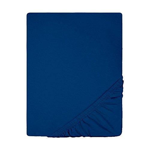 Spannbettlaken Jersey Baumwolle   viele Farben alle Größen   Spannbetttuch für Standardmatratzen   140 x 200 bis 160 x 200 CelinaTex 0002792 Lucina dunkel-blau