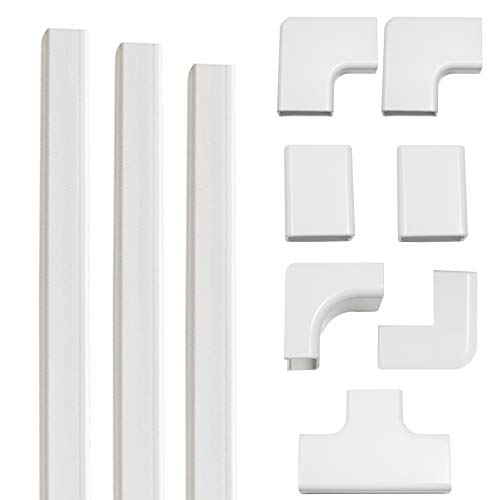 Echogear On-Wall Cable Raceway Kit for Hiding Up to 4 Cords - Easy Peel & Stick Install Helps Conceal & Organize Cables from Mounted TVs & Other Electonics - Customize Your Cable Management