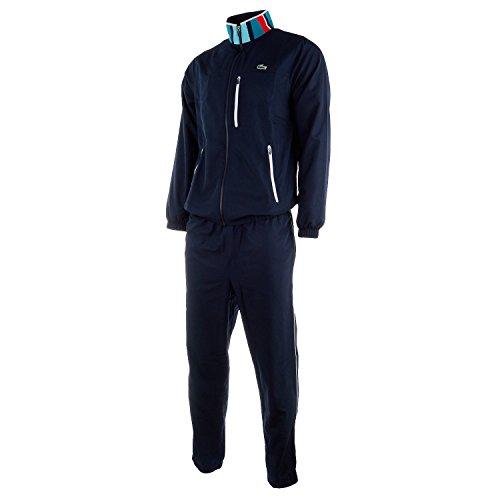 - Lacoste Men's Sport Colorblock Tracksuit (5 - L, Navy Blue/Etna Red - Navy Blue)