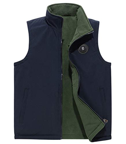 - Fuwenni Men's Winter Fleece Reversible Outerwear Vest Jacket Dark Blue L