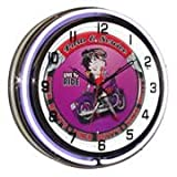Betty Boop on Motorcycle, Neon Clock, Bright Double 18 inch Neon