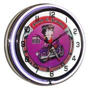 Betty Boop on Motorcycle, Neon Clock, Bright Double 18 inch Neon by Telstar Neon