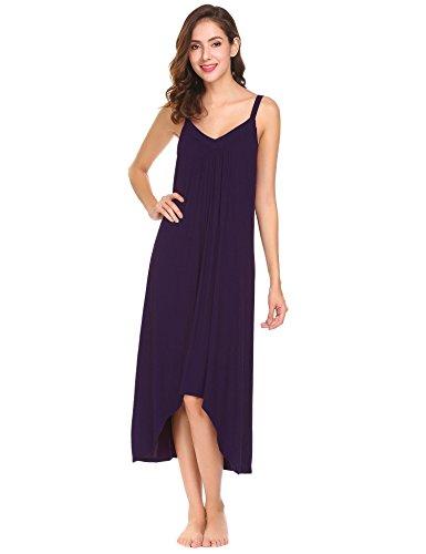 Modfine Vestido de Noche Sólido del Dobladillo Irregular del Dobladillo de la Correa de Espagueti de Las Mujeres Violeta Oscuro