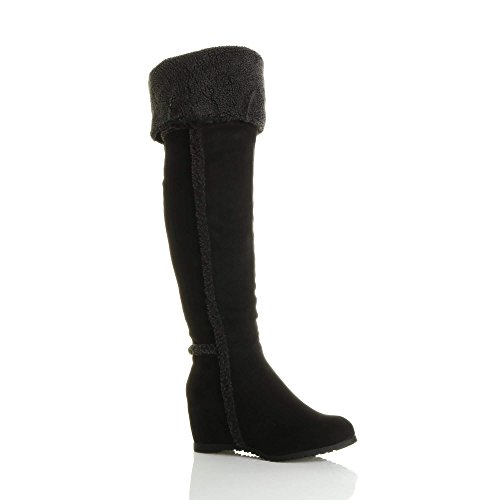 Shearling Ladies Size Nero Wedged Womens Fold Mid The Knee Over Aviator Boot TqIwS