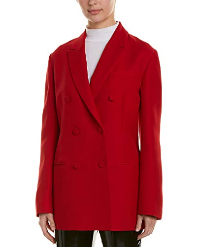 Valentino Womens Double-Breasted Silk & Wool-Blend Blazer, 40, Red (Coat Valentino Red)