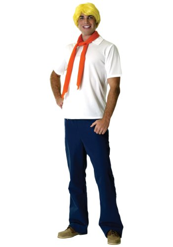[Rubies Mens Deluxe Fred Scooby Doo Theme Party Fancy Dress Costume, Standard (up to 44)] (Scoobydoo Adult Plus Costumes)