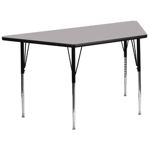 - Flash Furniture 30''W x 60''L Trapezoid Grey Thermal Laminate Activity Table - Standard Height Adjustable Legs