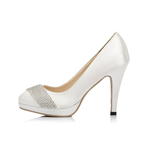 Prom Shoes Kevin Party Womens Round Toe Satin Bridal Evening White Wedding Fashion JYG087 Pumps xv1gx7