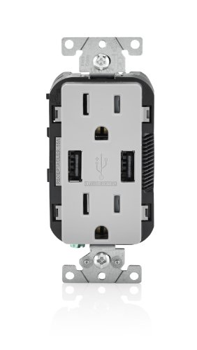 (Leviton T5632-GY USB Charger/Tamper-Resistant Duplex Receptacle, 15-Amp, Gray)