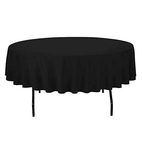Black Elegance Tablecloth - LinenTablecloth 90-Inch Round Polyester Tablecloth Black