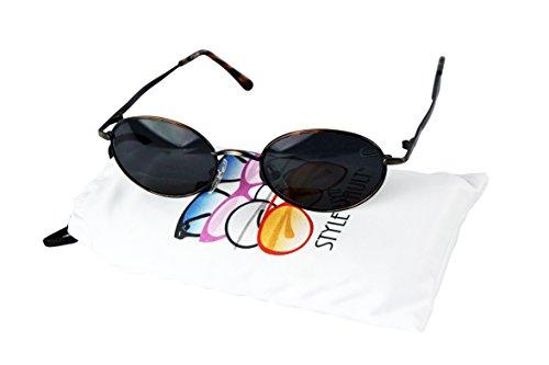 V3135-vp Vintage Retro Classic Oval metal Sunglasses (Small lens) (C019 Tortoise Bronze, - Sunglasses 60s Vintage