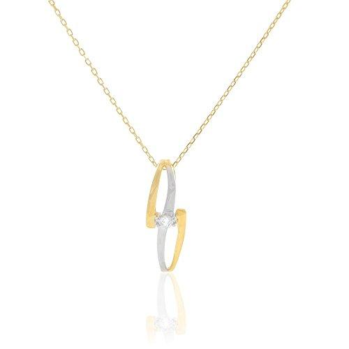 HISTOIRE D'OR - Collier Or et Diamant - Femme - Or 2 couleurs 375/1000