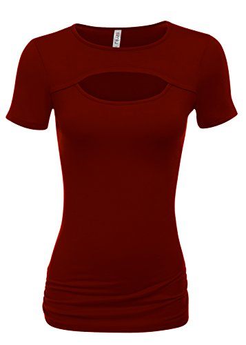 - Burgundy Short Sleeve Top Burgundy Keyhole Top Burgundy Cutout Shirt Sexy Top (Size Medium, Burgundy)