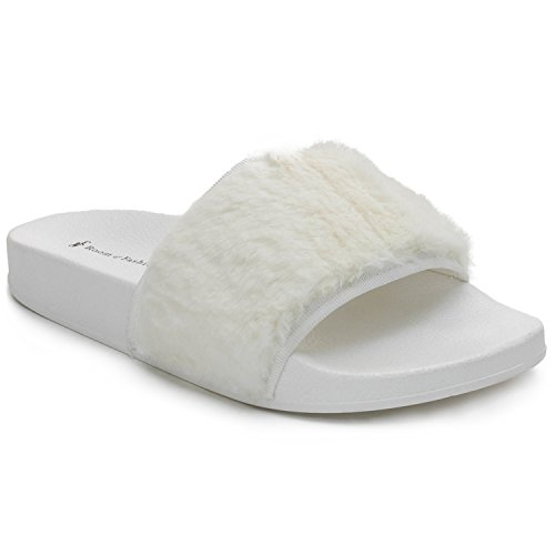 (RF ROOM OF FASHION Women's Fashion Soft Faux Fur Single Band Slides - Slip On Flat Sandals - Marabou Slippers White (11))