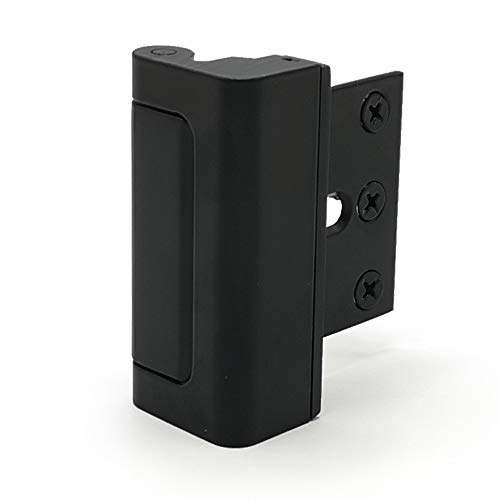 Door Reinforcement Lock – Alamic Home Security Door Lock Childproof Door Reinforcement Lock for Inward Swinging Door, Withstand 800 lbs. of Force - Black