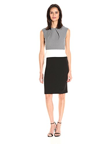 Sandra-Darren-Womens-1-Pc-Extended-Shoulder-Jacquard-Crepe-Color-Block-Dress