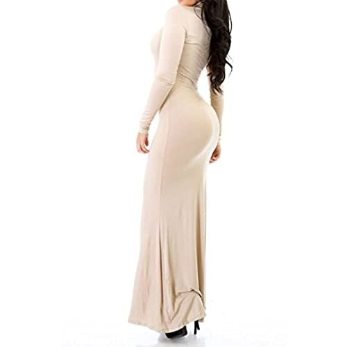 Goodtime Fitted Long Sleeve Turtleneck Bodycon Maxi Long Dress Size S-3XL GT5339 (XL, Taupe)