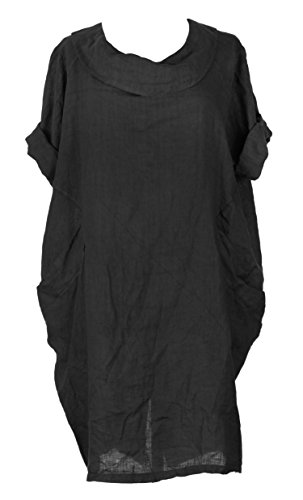Collar Button Italian Womens Ladies One 2 Pocket Linen Lagenlook Round TEXTURE Black Size Dress Back xaqXH8x