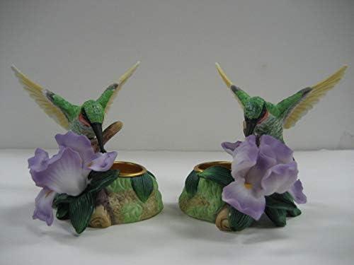 Hummingbird With Iris Votive Holder