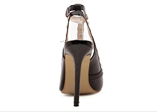 YCMDM Donne Sandali Rivet a punta cava col tacco alto scarpe singolo 39 36 35 38 37 40 , black , 37