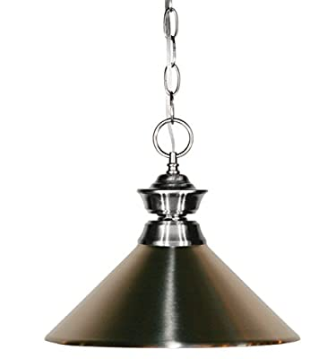 Z-Lite 100701BN-MBN One Light Pendant, Metal Frame, Pewter Finish and Metal Brushed Nickel Shade of Metal Material
