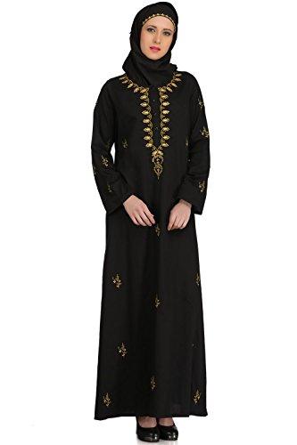 MyBatua Noir Cotton Muslim Vêtements de loisirs et de mode Abaya Burqa Maxi AY-509
