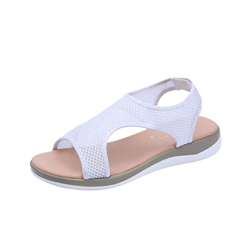 Summer Women Flat Rome Sandals ★| Women Fashion Anti Skidding Flat Beach Holiday Roman Shoes White 4kIDV0tB