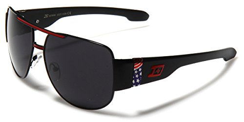Oversized Large USA Flag Square Aviator Flat Top Sunglasses with Dark - Sunglasses Dxtreme