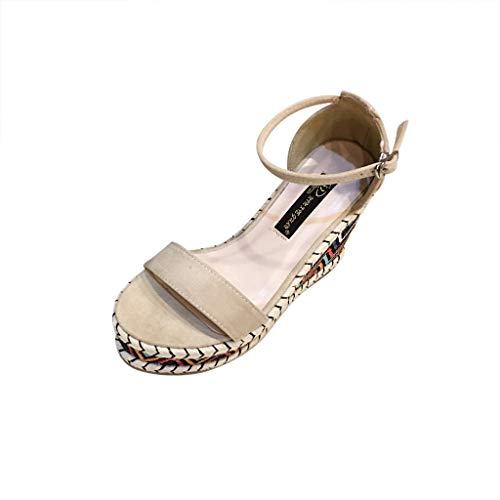 GHrcvdhw Summer Stylish Super High Thick Heel Roman Open-Toed Sandals Printed Belt Button Casual Women Shoes Beige
