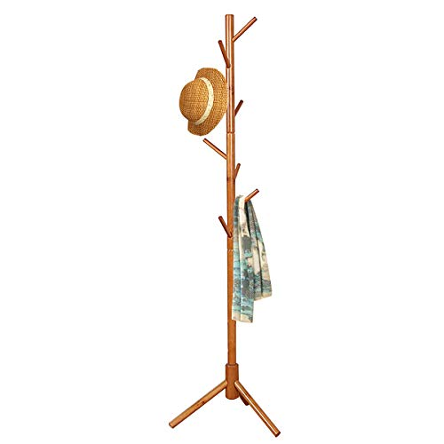 FADDA Free Standing Coat Rack Wood Tree Coat Rack with 8 Hooks, Sweater, hat, and Bag, Tree Hanger Bracket