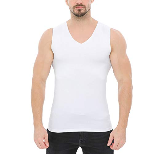 (FEDULK Men's Solid Vest Fashionable Sports Tank Tops Gym Running Fitness Workout Body Shaper Blouse(White, US Size S = Tag)