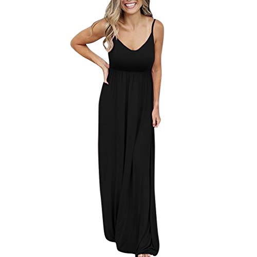 Conversion Set 86 (TIFENNY Women's Sexy Sleeveless Dresses Solid Color Maxi Causal Holiday Beach Party Long Dress Vest Tops Black)