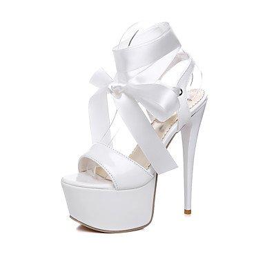 festa white stiletto Nero Seta Cinturino alla Matrimonio ligaosheng Vernice Serata Bianco Rosso A caviglia Comoda Da Sandali e donna Formale FBw0qHx
