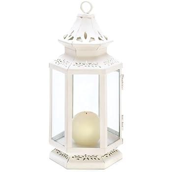Gifts & Decor Medium Size Victorian White Candle Lantern Candleholder