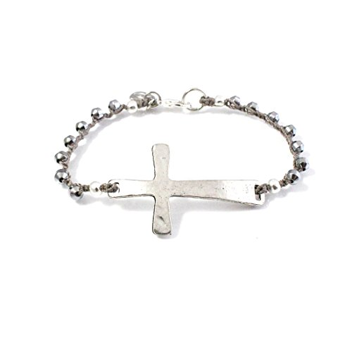 [ISABEL INY Abba Women Bracelet Hematite Beads, Antique Hammered Cross, Plated Clasp - Handmade] (Custom Costumes Makers Los Angeles)