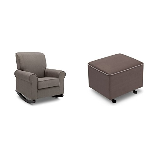 Delta Furniture Rowen Rocking Chair and Gliding Ottoman with Dove Grey Welt, Graphite
