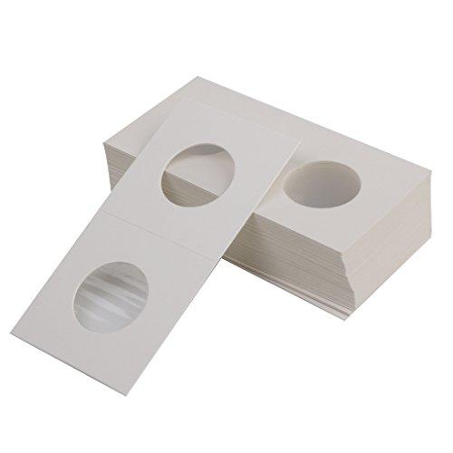 Prettyia 23mm Coin Cardboard Holder Flips - 50pcs/Set, 10x5cm Paper (L x W) ()