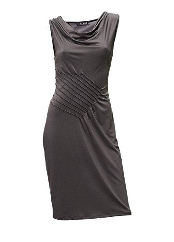 Kleid Kleid Raffungen 44 Gr Biesen grau Damen Jersey mit Designer und OqR1pwnx