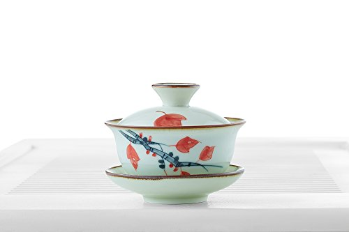 Porcelain Gaiwan Teacup Mug Tea Brewing Cup With Lid And Saucer Chinese Teaware (pale green, white, 4.4 oz)