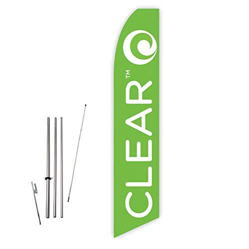 Clear (Lime Green) Super Novo Feather Flag - Complete with 15ft Pole Set and Ground Spike (Wimax Network)