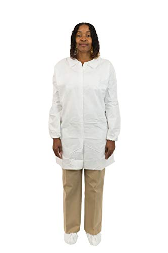 MicroGuard CE Individually Packaged Clean Processed Microporous Lab Coat with Tunnelized Elastic Wrist and No Pockets (XL, Case of 50) by Microguard CE (Image #2)