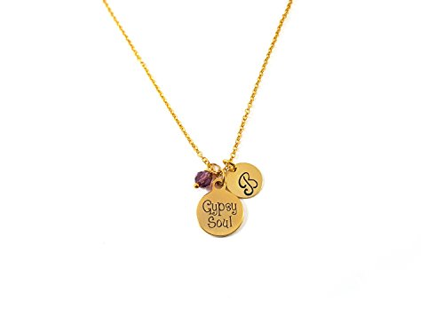 Gypsy Soul Charm - Personalized Initial Hand Stamped Gold Necklace]()