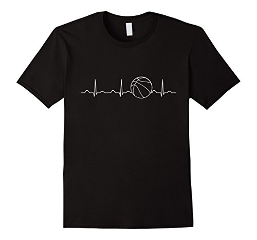 Mens Basketball Heartbeat Shirt, Funny Player Team Coach Gift Large Black
