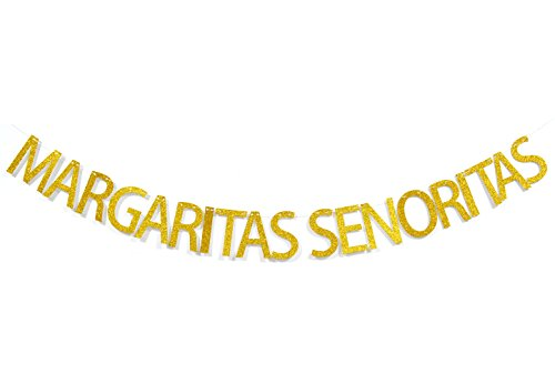 - Margaritas Senoritas Gold Glitter Banner, Mexican Fiesta Party Supplies