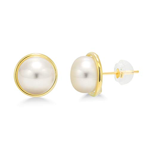 Gem Stone King 14K Yellow Gold 9MM White Button Shape Cultured Freshwater Pearl Stud Earrings (Earrings Pearl Antique)